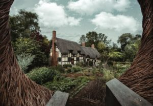 English cottage surrounded by green forest